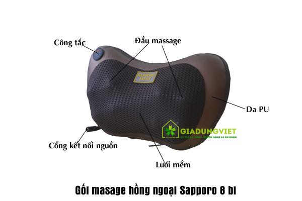 Gối massage hồng ngoại Sapporo SP168 (4bi)