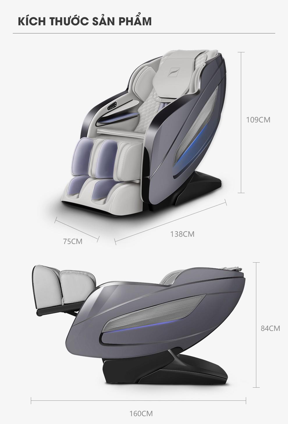 kích thước sản phẩm ghế ngồi massage