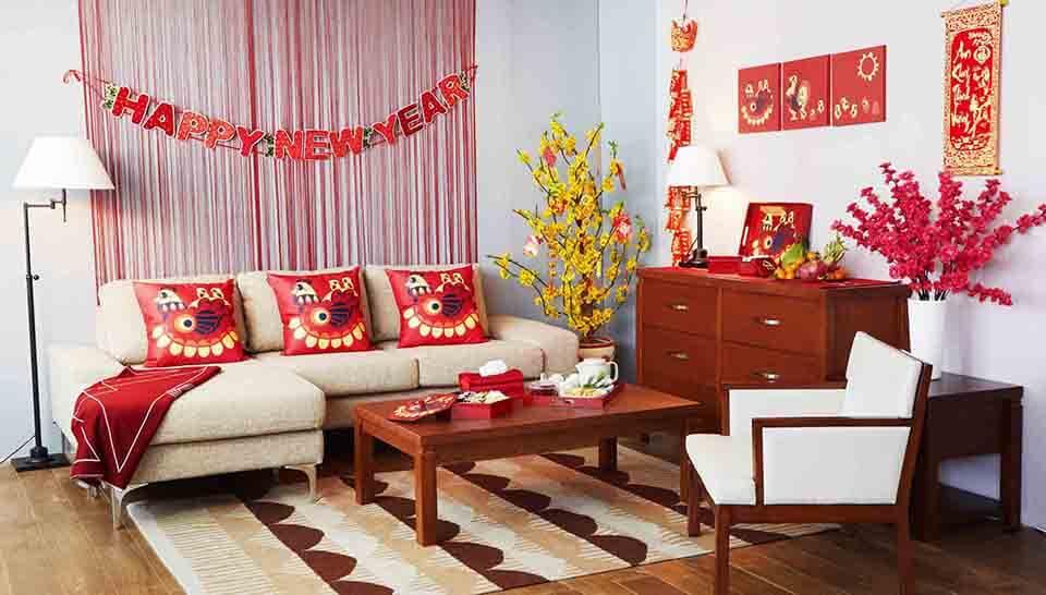Hoa trang trí phòng khách ngày tết