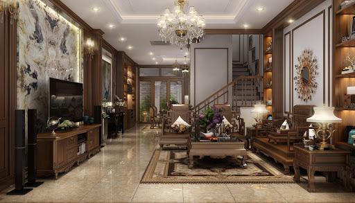 Nội thất phòng khách bằng gỗ
