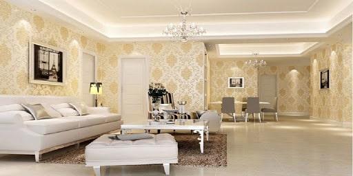 Trang trí phòng khách với giấy dán tường